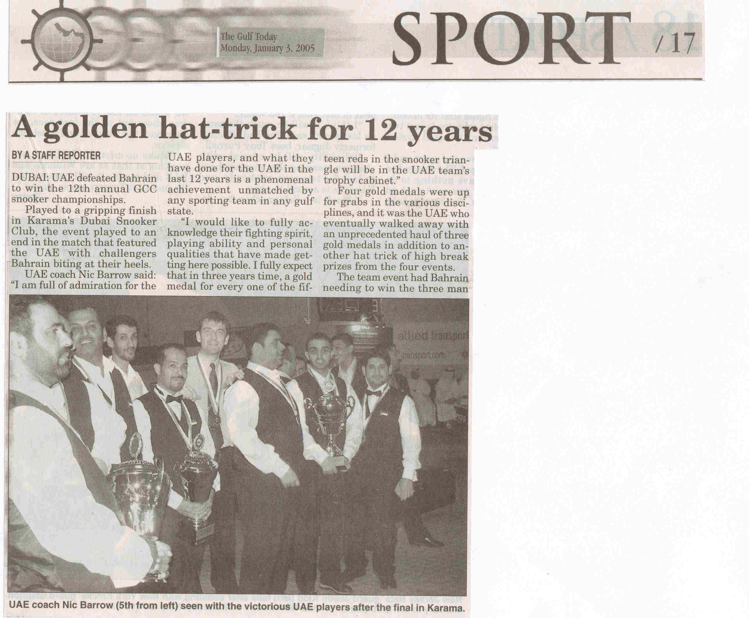 A golden hat - trick for 12 years
